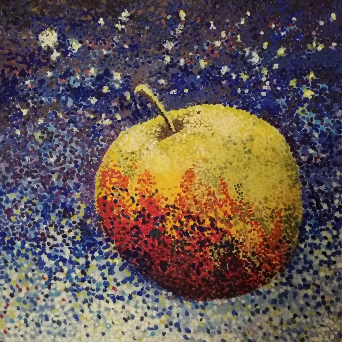 An apple falling through space