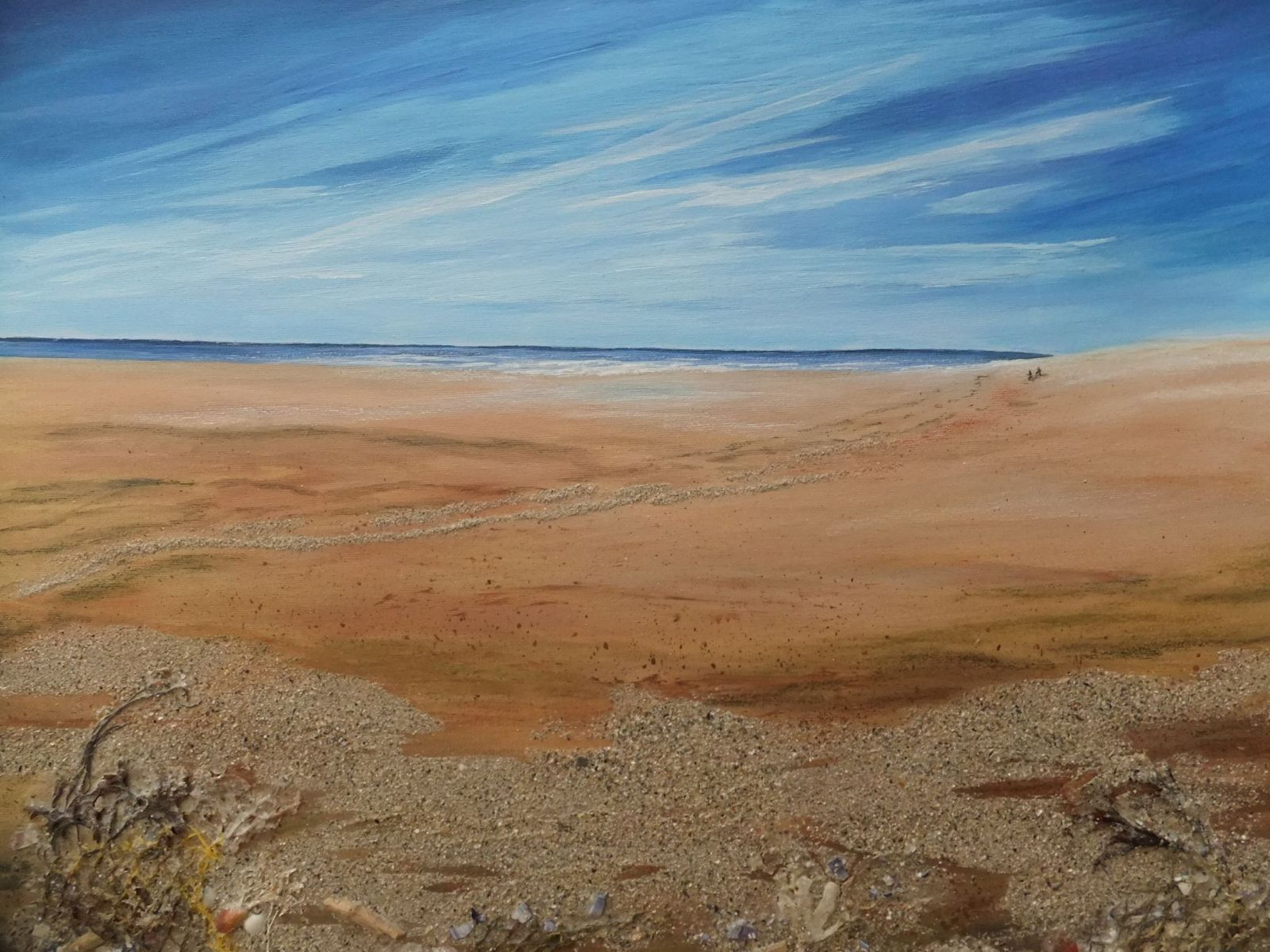Beachcombing-Acrylic-and-materials-from-the-beach-in-the-painting