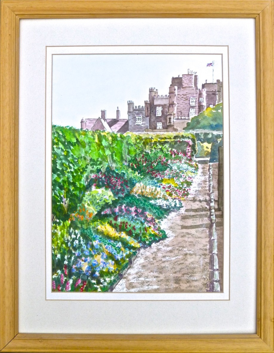 Castle-of-Mey-Caithness-Watercolour-and-oil-pastel-£160-framed