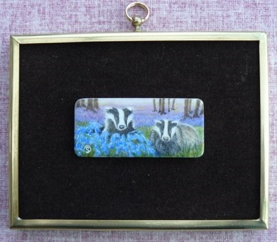 Mr-and-Mrs-Badger-Watercolour-on-antique-piano-key-£550