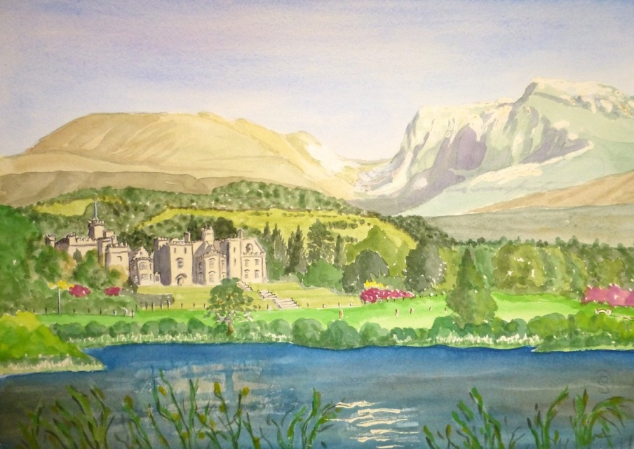 Ben-Nevis-and-Inverlochy-Castle-Watercolour-£160-to-be-framed