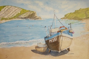 Lulworth-Cove-Dorset-Watercolour-£140-to-be-framed